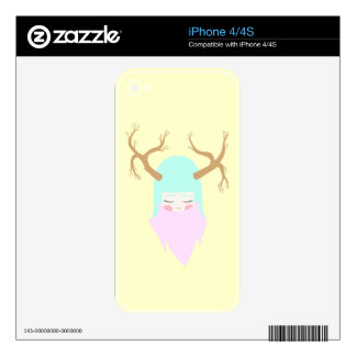 Cute Deer Girl Decal For iPhone 4S