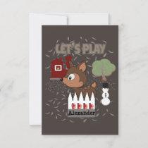 Cute Deer Let's Play-Play Date Invitation
