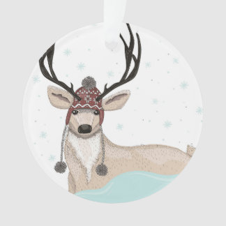 Cute Deer With Hat Winter Background Ornament