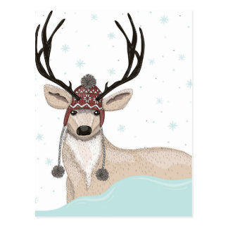 Cute Deer With Hat Winter Background Postcard
