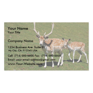 Cute Deer With His Mama In The Green Meadow Business Cards