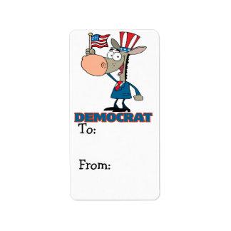 cute democratic donkey cartoon character label
