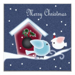 Cute Denim Christmas Birds Dinner Party Invitation