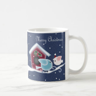 Cute Denim Christmas  mistletoe Kissing Birds Coffee Mugs