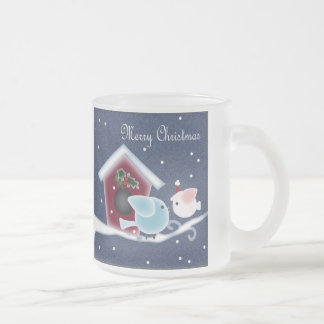 Cute Denim Christmas  mistletoe Kissing Birds Coffee Mug