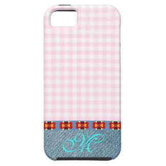 Cute Denim Girly Monogram Pink Vintage Pattern iPhone SE/5/5s Case
