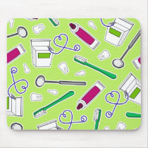 Cute Dentist / Dental Hygienist Love Green Purple Mouse Pad