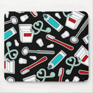 Cute Dentist / Dental Hygienist Print Black Mousepad