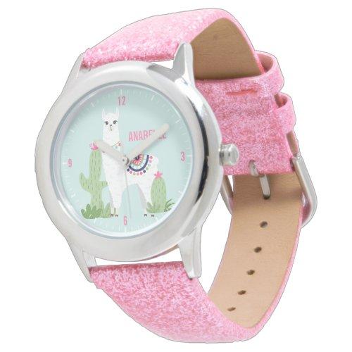 Cute Desert Llama Personalized Girl's Watch