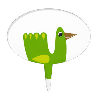 Cute designs with Green bird Cake Topper