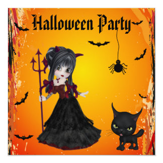 Cute Devil Girl, Pitchfork & Cat Halloween Card