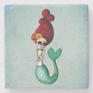 Cute Dia de Los Muertos Mermaid galón Posavasos De Piedra