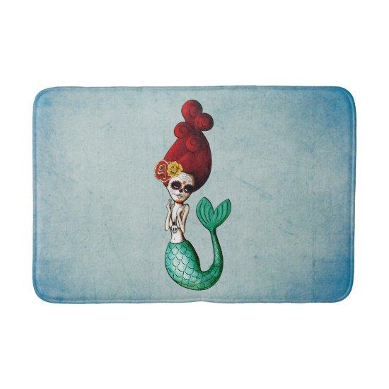 Cute Dia de Los Muertos Red Hair Mermaid Bath Mat
