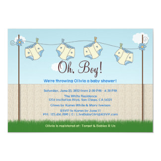 Cute Diaper Clothesline Baby Boy Baby Shower 5x7 Paper Invitation Card