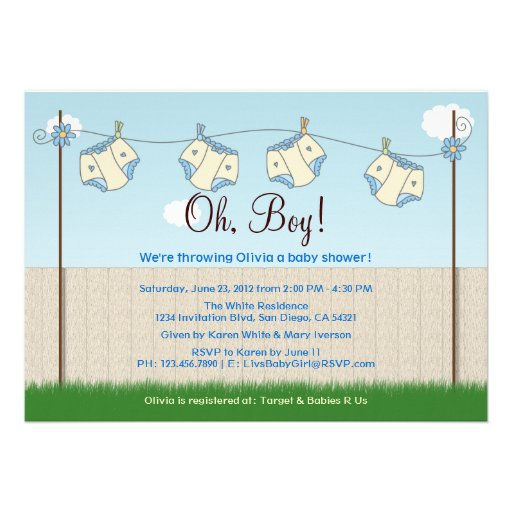 Cute diaper clothesline baby boy baby shower cards