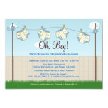 "Cute Diaper Clothesline Baby Boy Baby Shower 5"" X 7"" Invitation Card"