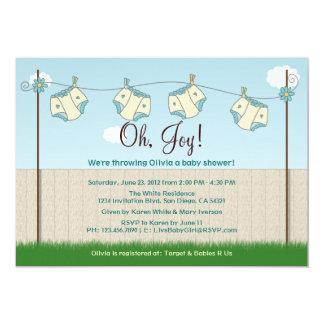Cute Diaper Clothesline Gender Neutral Baby Shower Card