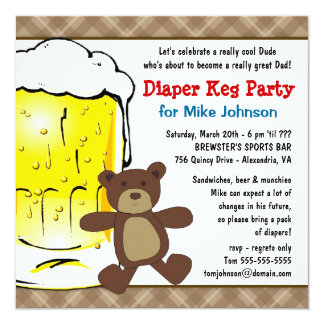 Cute Diaper Keg Invitations - New Daddy Beer Party