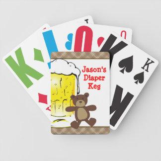 Cute Diaper Keg Teddy Bear Beer Playing Cards