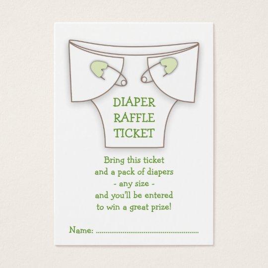 Cute Diaper w Green Pins Baby Shower Raffle Ticket