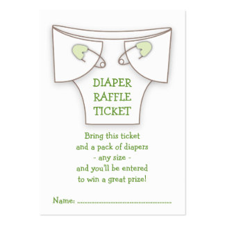 Cute Diaper w Green Pins Baby Shower Raffle Ticket Business Cards