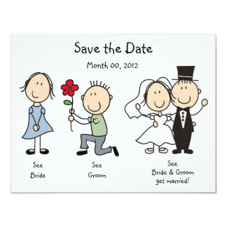 """Cute Dick and Jane Save the Date Cards 4.25"""" X 5.5"""" Invitation Card"""