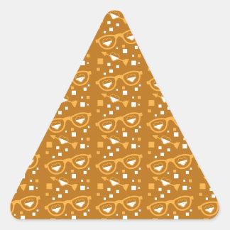 Cute digital love glasses and hearts pattern triangle sticker