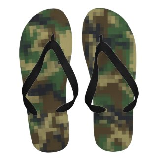 Cute Digital Pixel Camouflage Pattern Sandals