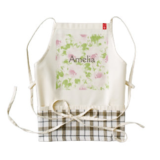 Cute,digital,water paint,pink,roses,floral,trendy, zazzle HEART apron