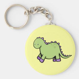 Cute Dino Basic Round Button Keychain