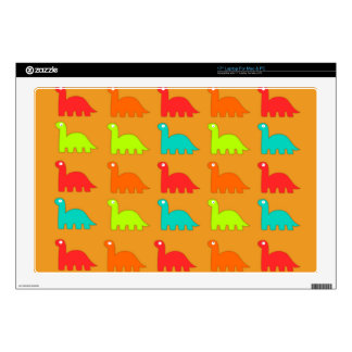 """Cute Dino Pattern Walking Dinosaurs 17"""" Laptop Skin"""
