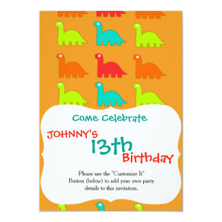 Cute Dino Pattern Walking Dinosaurs 5x7 Paper Invitation Card