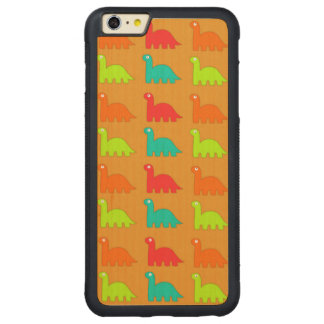 Cute Dino Pattern Walking Dinosaurs Carved Maple iPhone 6 Plus Bumper Case