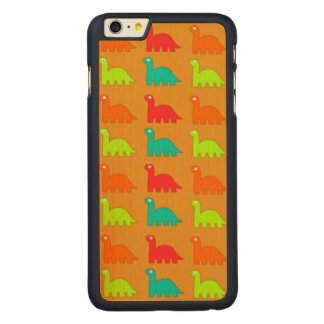 Cute Dino Pattern Walking Dinosaurs Carved Maple iPhone 6 Plus Case