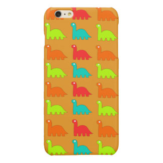 Cute Dino Pattern Walking Dinosaurs Glossy iPhone 6 Plus Case