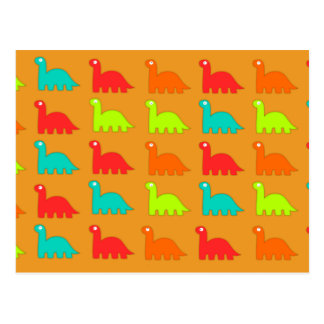 Cute Dino Pattern Walking Dinosaurs Postcard