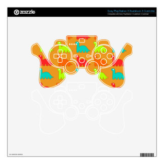 Cute Dino Pattern Walking Dinosaurs PS3 Controller Decal