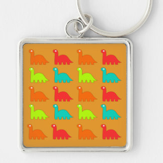Cute Dino Pattern Walking Dinosaurs Silver-Colored Square Keychain