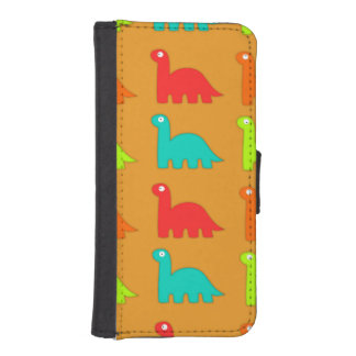 Cute Dino Pattern Walking Dinosaurs Wallet Phone Case For iPhone SE/5/5s