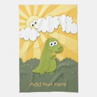 Cute Dino Trex in Sunshine Cartoon Kitchen Towel