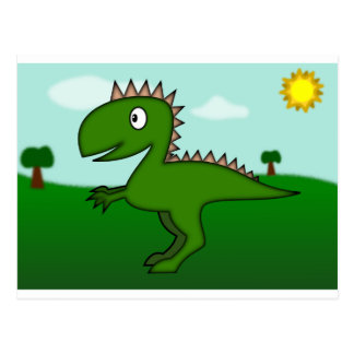 Cute Dino with Background Postcard