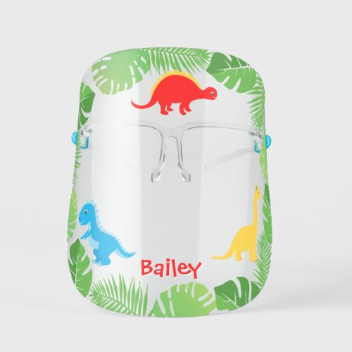 Cute Dinoaurs & Tropical Leaves Back to School Kids' Face Shield