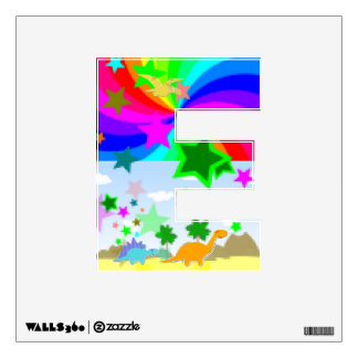 Cute Dinos in Pixel Color Land Letter E Alphabet Room Graphics