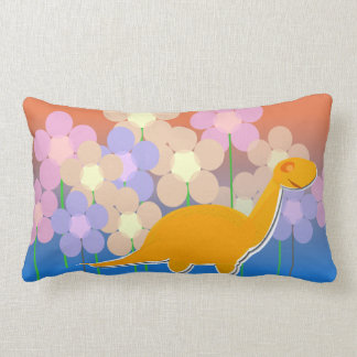 Cute Dinosaur and Flowers Pillow