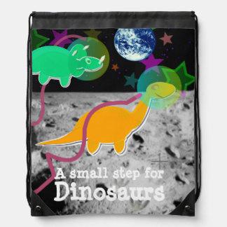 Cute Dinosaur Astronauts on the Moon Drawstring Backpack