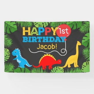 Cute Dinosaur Birthday Boy Banner