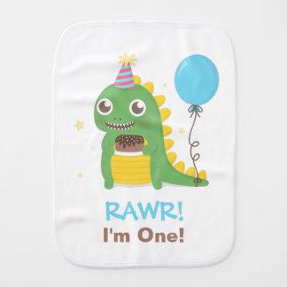 Cute Dinosaur Birthday Party Rawr I am One Burp Cloth
