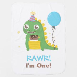 Cute Dinosaur Birthday Party Rawr I am One Stroller Blanket