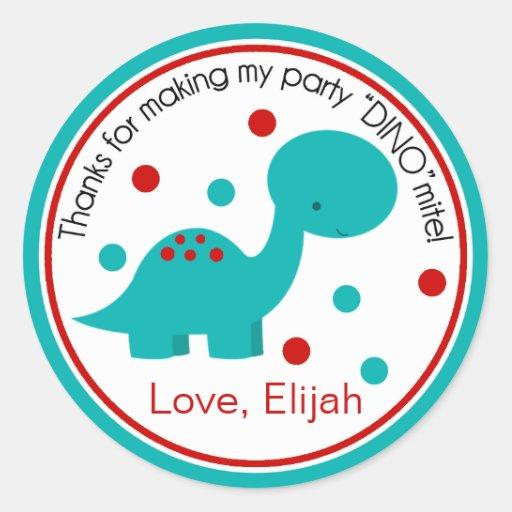 Cute Dinosaur Birthday Sticker (teal/red)