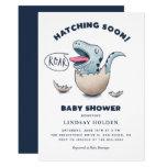"Cute ""Hatching Soon!"" Dinosaur Baby Shower Invitation (Boy)"